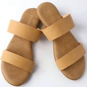 New Comfy Sole Two Band Slip On Slide Sandals